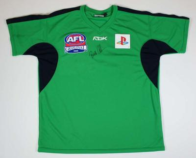 Umpire's t-shirt worn and signed on front by  Brett Allen - 2006 Grand Final Field Umpire