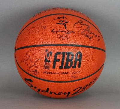 Sydney 2000 Olympic Games basketball signed by members of the Opals (Australian Women's Basketball Team) and the Boomers (Australian Men's Basketball Team).