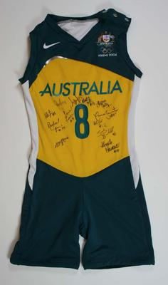 Athens 2004 Olympic Games bodysuit signed by the entire Opals team