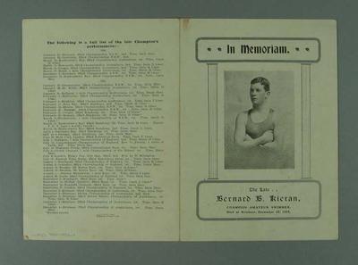 In Memoriam Card for Bernard Keiran, 1905
