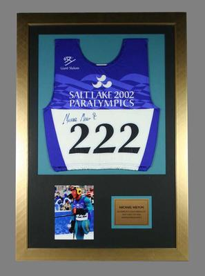 Signed competitor's bib worn by Michael Milton at the 2002 Salt Lake City Winter Olympic Games (Paralympics)