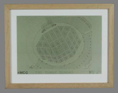 Colour photograph of ground plan, 1997 Three Tenors concert at MCG