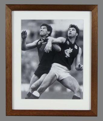 Reproduction photograph of Justin Madden and Simon Madden, in a ruck contest