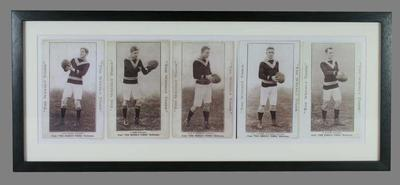 Black and white photograph of five Melbourne University Football Team member trade cards