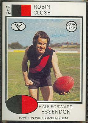 1975 Scanlens VFL Football Robin Close trade card; Documents and books; 1994.3042.143