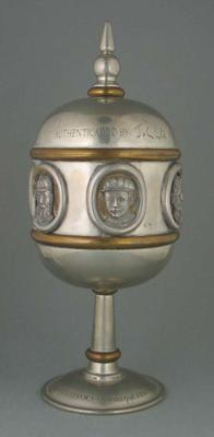 Pewter Cricket chalice with lid featuring images of cricket players;  no 29/2000