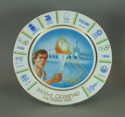 Official plate commissioned by the Australian Olympic Federation, 1984 Olympic Games, artist Bernard Tate