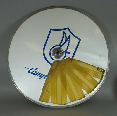 Carbon fibre rear disc cycling wheel used in track and road competitions