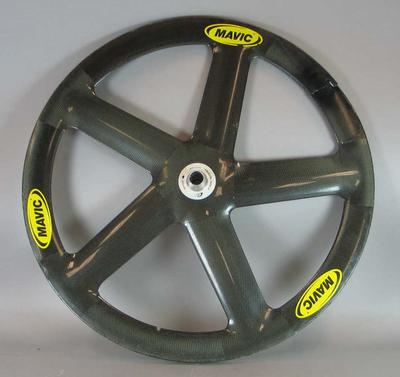 Carbon fibre front cycling wheel used in track competition