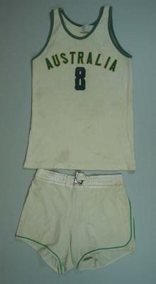 Australian Basketball Team (the Boomers) playing uniform worn by Michael Ah Matt 1964