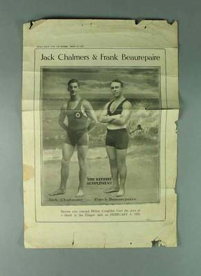 Newspaper clipping, features image of Jack Chalmers & Frank Beaurepaire c1922