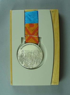 Silver medal awarded to Grant Mizens, Athens Paralympic Games, 2004