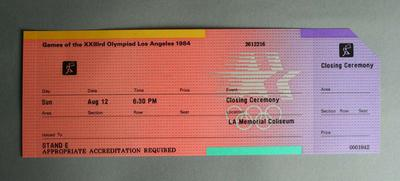 1984 Olympic Games, Los Angeles Closing Ceremony Ticket