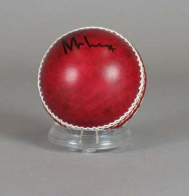 Cricket ball, signed by Sri Lankan bowler Muttiah Muralitharan