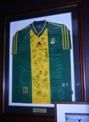 Australian Team Soccer shirt, signed by the team, 2000 Sydney Olympics, match Australia v Brazil at the MCG