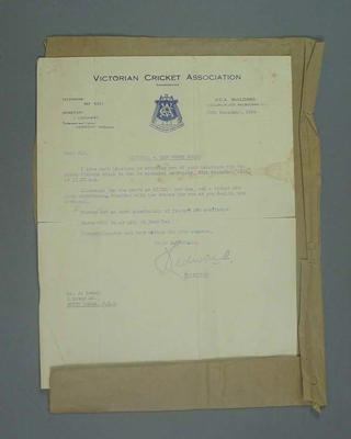 Letter to John Power advising of selection into the Victorian cricket team, 1954