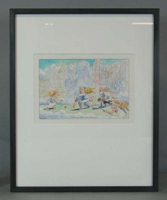 Original framed watercolour  ;' World Series Heaven' 2005  by John Spooner