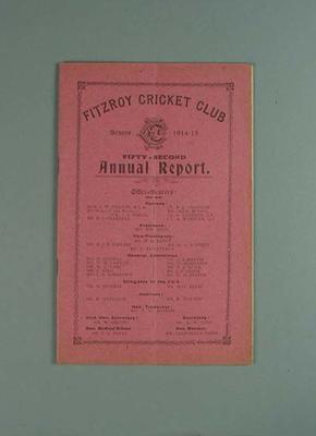 Annual report, Fitzroy Cricket Club - season 1914/15
