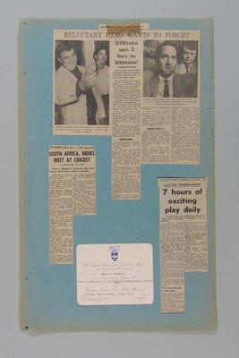 Four large blue scrapbook pages with newspaper clippings and invitation, 1968 World Championship Cricket