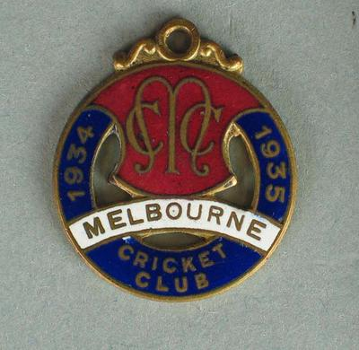 Melbourne Cricket Club 1934-35 Members Medallion. '2871'