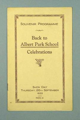 Programme for Back to Albert Park School Celebrations, 26 September 1935