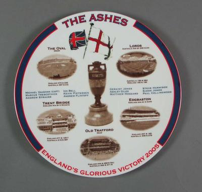 White bone china plate  - 'The Ashes England's Glorious Victory 2005'