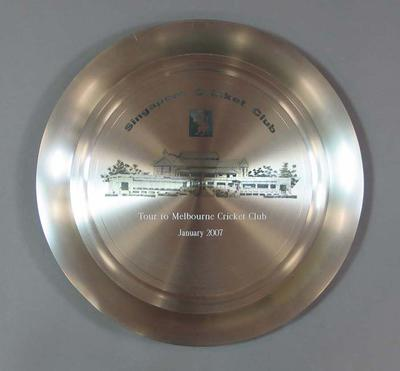 Large metal salver presented by Singapore Cricket Club, engraved 'Tour to Melbourne Cricket Club January 2007'.