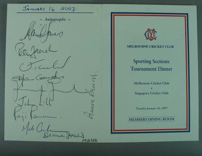 Autographed Menu for Melbourne Cricket Club Sporting Sections Tournament Dinner, Tuesday 16 January 2007