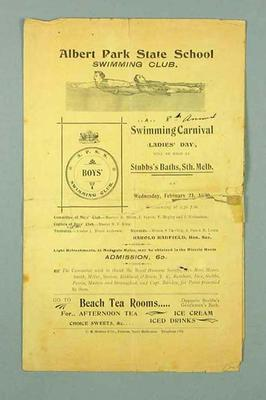 Programme for 8th Annual Albert Park School Swimming Carnival, 21 February 1900
