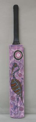Painted cricket bat, artist Daryl Nayler