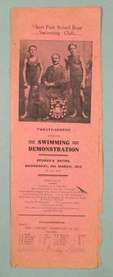 Programme for Albert Park School Swimming Club Swimming Demonstration, 5 March 1913