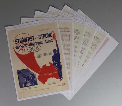 Photocopy of sheet music for 'Steadfast and Strong, Olympic Marching Song'.