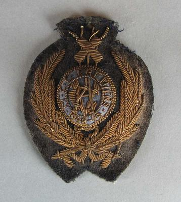 1948-49 MCC Premiers metal embroidered bullion badge issued by the Victorian Cricket Association.; Trophies and awards; M16489.1