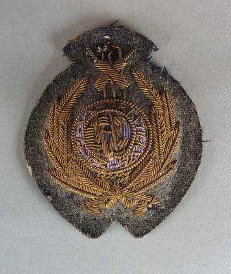 1951-52 MCC Premiers metal embroidered bullion badge issued by the Victorian Cricket Association.; Trophies and awards; M16489.2