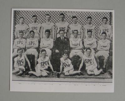 Black and white reproduction photograph featuring  St. Patrick's, Sale - winners  of the Secondary School Athletics at the MCG, January 1925.