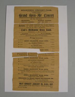 Programme for MCC Twelfth Grand Open Air Concert, Monday 19 January 1903.