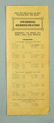 Programme for Albert Park School Swimming Club Swimming Demonstration, 14 March 1917