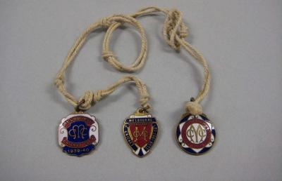 Melbourne Cricket Club membership medallions - seasons 1937/38, 1938/39 & 1939/40, with white cord