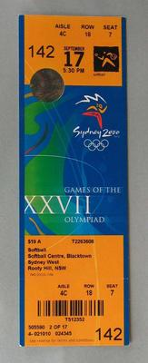 Ticket to the Softball at the 2000 Sydney Olympic Games, Softball Centre, Blacktown, Sydney West for 17 September 2000.