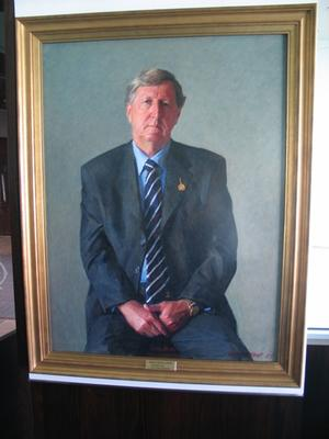 Oil painting; portrait of David Meiklejohn by artist Robert Hannaford.