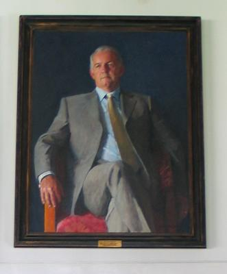 Oil painting; portrait of Stephen Gough by artist Robert Hannaford