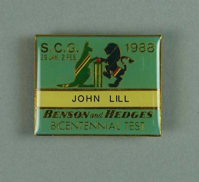 Bicentennial Test name badge, issued to John Lill