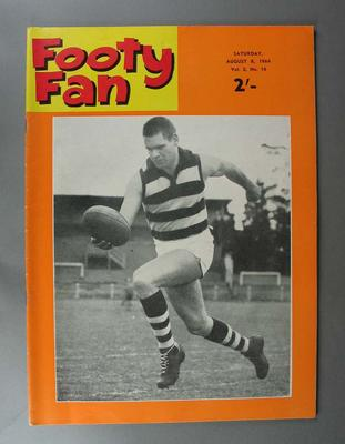"""Copy of """"Footy Fan"""" magazine, Vol 2. No. 16, 8 August 1964 cover image of Graham Farmer"""