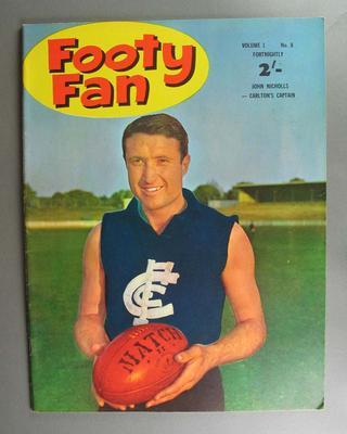 "Copy of ""Footy Fan"" magazine, vol 1, no.8, cover photograph of John Nicholls"