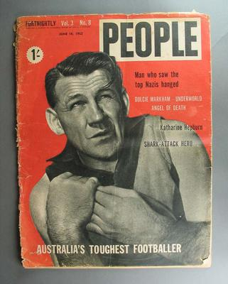 """Copy of """"PEOPLE"""" magazine, vol 3 no 8,  18 June 1952, cover image of Jack Dyer"""