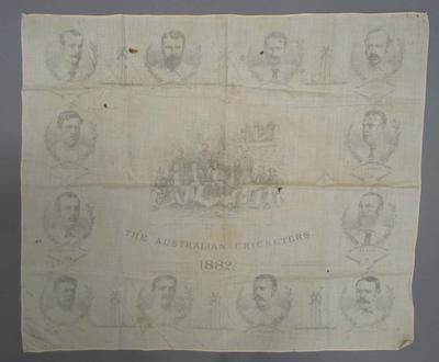 Handkerchief featuring group and individual images of the 1882 Australian Cricket Team