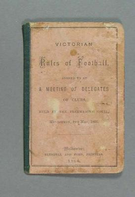 Victorian Rules of Football dated 8 May 1866 - single fold booklet.