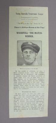 Young Australia Temperence League Pledge leaflet, featuring W.M. Woodfull, signed by  Lindsay Nelson aged 5