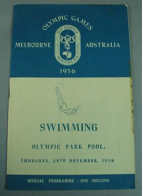 Official swimming programme from the 1956 Melbourne Olympic Games, 29 November; Documents and books; 2008.232.1