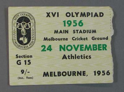 Ticket for 1956 Melbourne Olympic Games, Athletics on 24 November at MCG